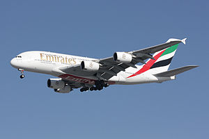An Emirates A380 on final approach to land.