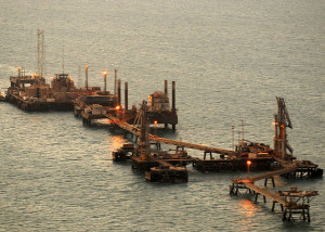 Iraq's Khawr Al Amaya Oil Platform (KAAOT) just after sunrise. Photo by U.S. Navy photo by Mass Communications